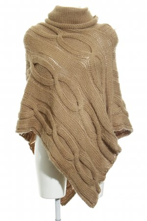 Hallhuber Poncho sand brown cable stitch casual look