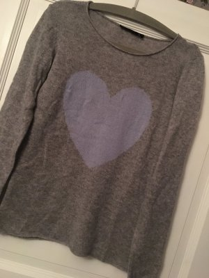 Hallhuber Pullover grau / blau Herz Gr. XL