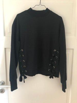 Hallhuber Pullover Hoodie Oberteil Schnürung Schwarz Schleife Wie NEU black