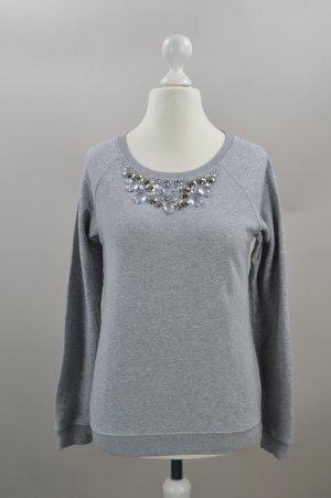 Hallhuber Pullover mit Strasssteinen grau Größe XS