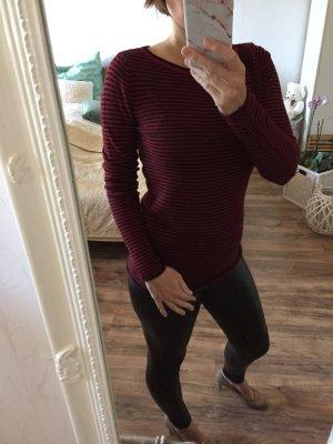 Hallhuber Pullover Pulli rot schwarz gesteift Kaschmir xs 36 neu