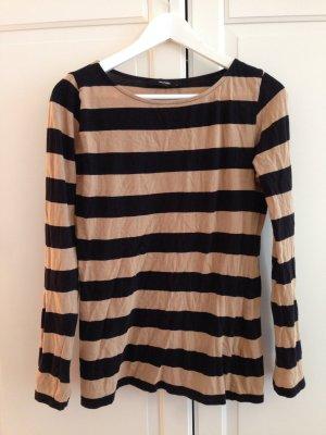 Hallhuber Pullover, Rundhals Pullover, dünn, beige schwarz, gestreift, Gr.L