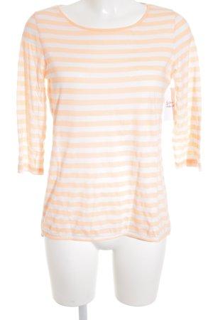 Hallhuber T-shirt rayé orange fluo-blanc motif rayé style décontracté