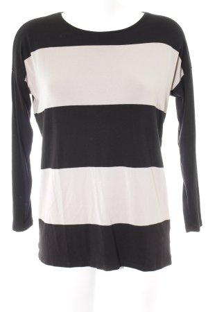 Hallhuber Stripe Shirt black-camel horizontal stripes casual look