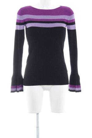 Hallhuber Rippshirt schwarz-lila Streifenmuster Casual-Look