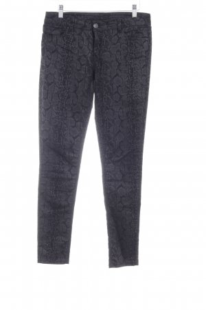 Hallhuber Drainpipe Trousers black-dark grey animal pattern urban style
