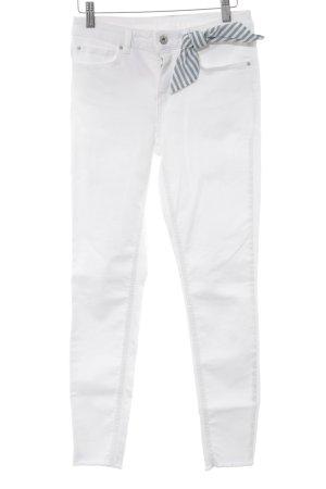 Hallhuber Jeans a sigaretta bianco-blu fiordaliso stile casual