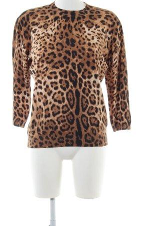 Hallhuber Pull-over à col roulé brun-noir motif léopard style décontracté