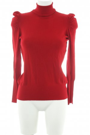 Hallhuber Pull-over à col roulé rouge style simple