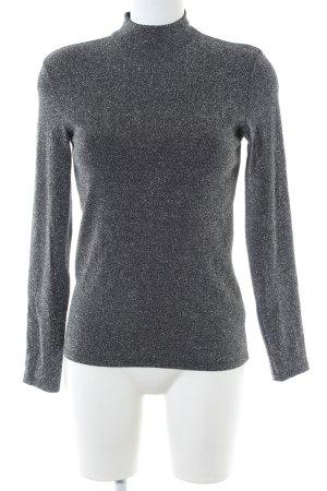Hallhuber Turtleneck Shirt light grey-silver-colored glittery