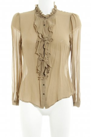 Hallhuber Ruche blouse camel transparante uitstraling