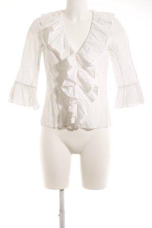 Hallhuber Ruche blouse wolwit romantische stijl