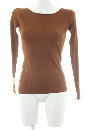 Hallhuber Kraagloze sweater bruin casual uitstraling