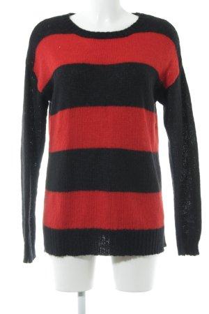 Hallhuber Rundhalspullover schwarz-rot Streifenmuster Casual-Look