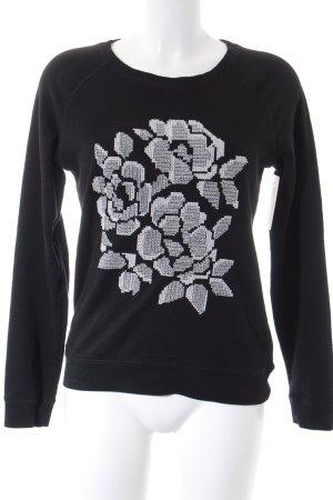 Hallhuber Rundhalspullover schwarz-weiß florales Muster Casual-Look