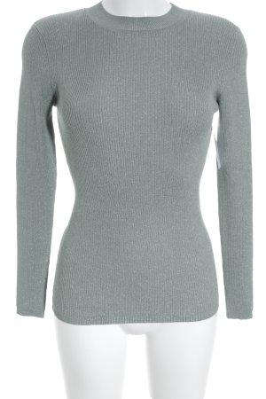Hallhuber Rundhalspullover silberfarben-graugrün Casual-Look