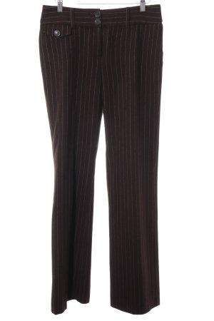 Hallhuber Pantalon pattes d'éléphant brun foncé-vieux rose rayure fine