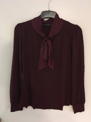 Hallhuber Blusa collo a cravatta bordeaux