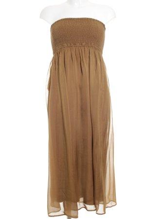 Hallhuber schulterfreies Kleid hellbraun Elegant