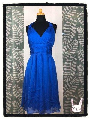 Hallhuber Halter Dress blue-neon blue silk