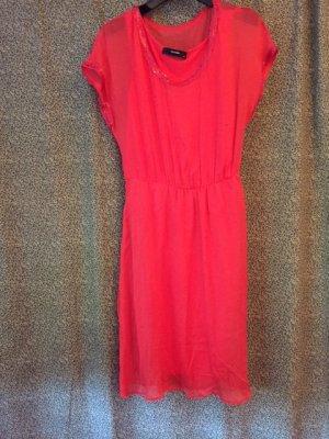 Hallhuber Robe chiffon rouge clair soie