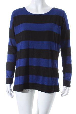 Hallhuber Shirt schwarz-dunkelblau Streifenmuster