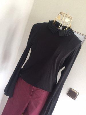 Hallhuber Shirt schwarz Faltenkragen Gr. L