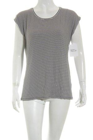 Hallhuber Shirt schwarz-weiß Streifenmuster Casual-Look