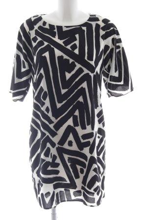 Hallhuber Vestido estilo camisa negro-blanco estampado con diseño abstracto
