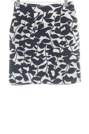 Hallhuber Skaterrock schwarz-weiß florales Muster Business-Look