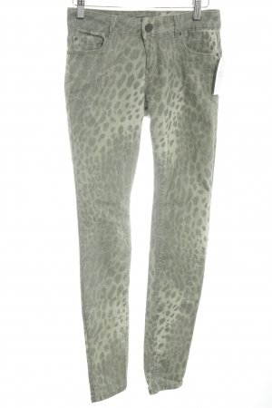 Hallhuber Skinny Jeans lime-green-olive green leopard pattern casual look