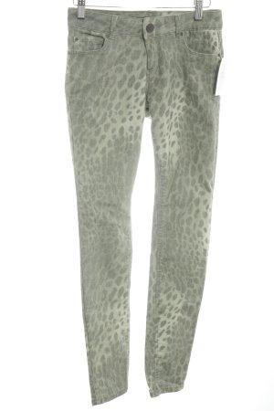 Hallhuber Skinny Jeans hellgrün-olivgrün Leomuster Casual-Look