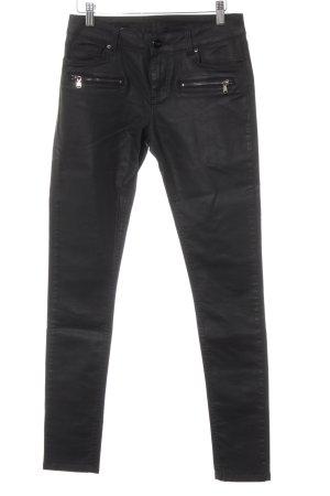 Hallhuber Skinny Jeans schwarz Biker-Look