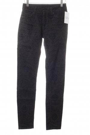 Hallhuber Skinny Jeans schwarz florales Muster Casual-Look