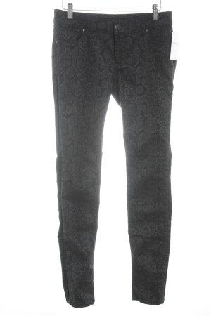 Hallhuber Skinny Jeans schwarz-grau Animalmuster Casual-Look