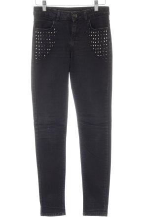 Hallhuber Skinny Jeans schwarz Schriftzug gestickt Casual-Look