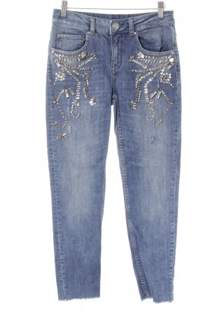 Hallhuber Skinny Jeans stahlblau Destroy-Optik
