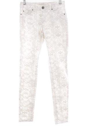 Hallhuber Skinny Jeans wollweiß-graubraun Allover-Druck Reptil-Optik