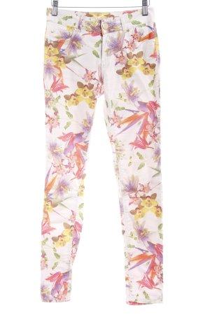 Hallhuber Slim Jeans Blumenmuster Casual-Look