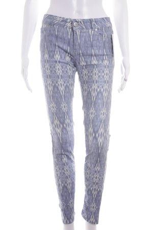 Hallhuber Slim Jeans himmelblau-weiß Batikmuster Casual-Look