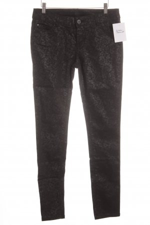 Hallhuber Slim Jeans schwarz-grau Blumenmuster Casual-Look