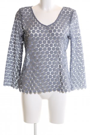 Hallhuber Lace Blouse light grey allover print casual look