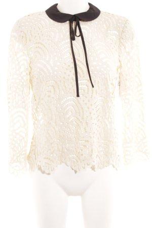 Hallhuber Blusa in merletto crema-nero Motivo a maglia leggera stile casual