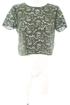 Hallhuber Spitzenbluse khaki abstraktes Muster Casual-Look