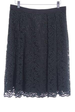 Hallhuber Jupe en dentelle noir motif embelli élégant