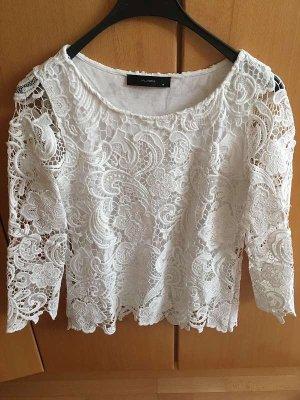 Hallhuber Gehaakt shirt wit