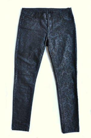 Hallhuber Stretch-Jeans Hose beschichtet schwarz geblümt Gr. 42 FAST WIE NEU