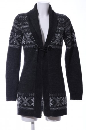 Hallhuber Strick Cardigan hellgrau grafisches Muster Casual-Look