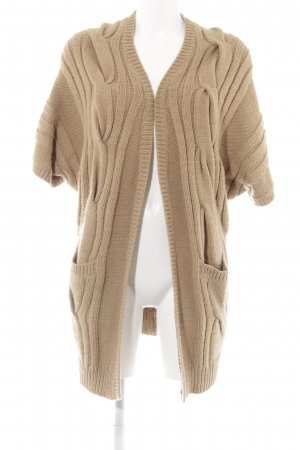 Hallhuber Strick Cardigan camel Zopfmuster Casual-Look
