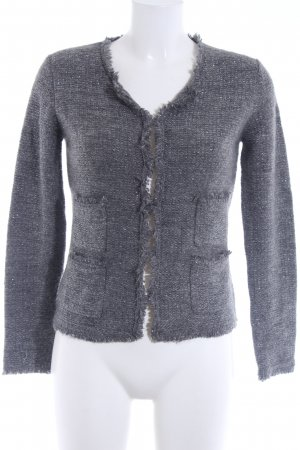 Hallhuber Knitted Cardigan grey-silver-colored graphic pattern glittery